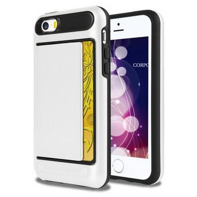 Microsonic Iphone Se Kılıf Kredi Kartlıklı Cüzdanlı Armor Beyaz Cep Telefonu Kılıfı