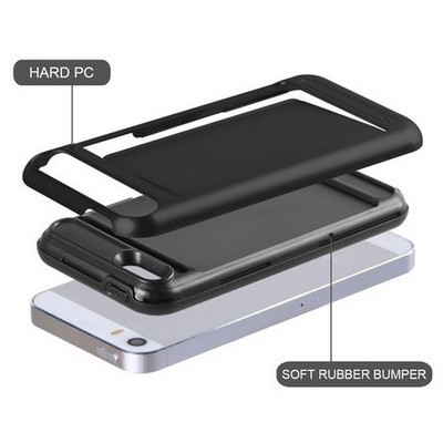Microsonic Iphone Se Kılıf Kredi Kartlıklı Cüzdanlı Armor Siyah Cep Telefonu Kılıfı