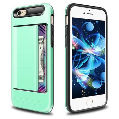 Microsonic Iphone 6s Plus Kılıf Kredi Kartlıklı Cüzdanlı Armor Rose Yeşil Cep Telefonu Kılıfı