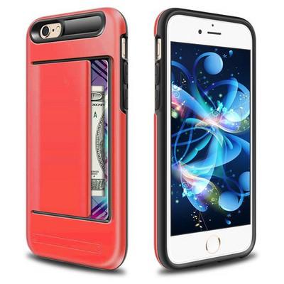 Microsonic Iphone 6s Plus Kılıf Kredi Kartlıklı Cüzdanlı Armor Rose Kırmızı Cep Telefonu Kılıfı