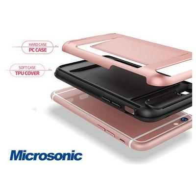 Microsonic Iphone 6s Plus Kılıf Kredi Kartlıklı Cüzdanlı Armor Rose Gold Cep Telefonu Kılıfı