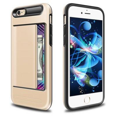 Microsonic Iphone 6s Plus Kılıf Kredi Kartlıklı Cüzdanlı Armor Gold Cep Telefonu Kılıfı