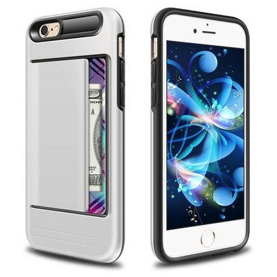Microsonic Iphone 6s Plus Kılıf Kredi Kartlıklı Cüzdanlı Armor Gümüş Cep Telefonu Kılıfı