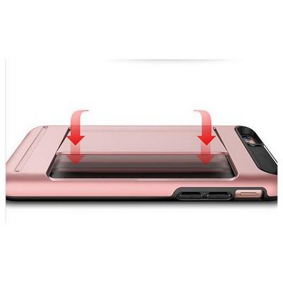 Microsonic Iphone 6s Kılıf Kredi Kartlıklı Cüzdanlı Armor Rose Gümüş Cep Telefonu Kılıfı