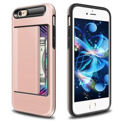 Microsonic Iphone 6s Kılıf Kredi Kartlıklı Cüzdanlı Armor Rose Gold Cep Telefonu Kılıfı