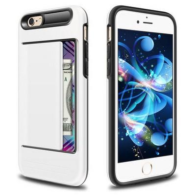 Microsonic Iphone 6s Kılıf Kredi Kartlıklı Cüzdanlı Armor Beyaz Cep Telefonu Kılıfı