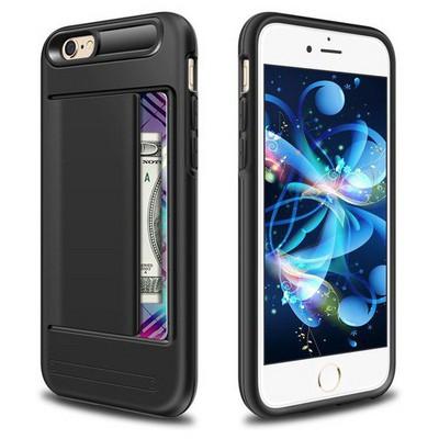 Microsonic Iphone 6s Kılıf Kredi Kartlıklı Cüzdanlı Armor Siyah Cep Telefonu Kılıfı