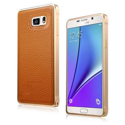 Microsonic Derili Metal Delüx Samsung Galaxy Note 5 Kılıf Kahverengi Cep Telefonu Kılıfı