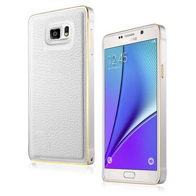 Microsonic Derili Metal Delüx Samsung Galaxy Note 5 Kılıf Beyaz Cep Telefonu Kılıfı