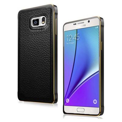 Microsonic Derili Metal Delüx Samsung Galaxy Note 5 Kılıf Siyah Cep Telefonu Kılıfı