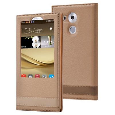 Microsonic Huawei Mate 8 Kılıf Gizli Mıknatıslı View Delux Gold Cep Telefonu Kılıfı