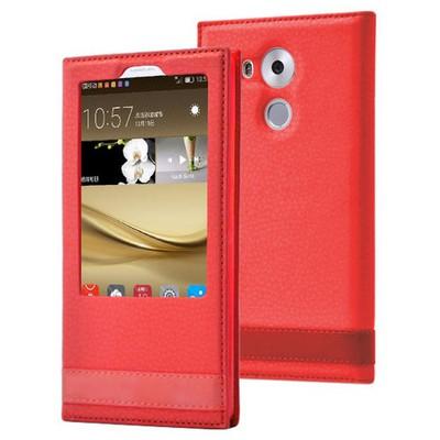 Microsonic Huawei Mate 8 Kılıf Gizli Mıknatıslı View Delux Kırmızı Cep Telefonu Kılıfı