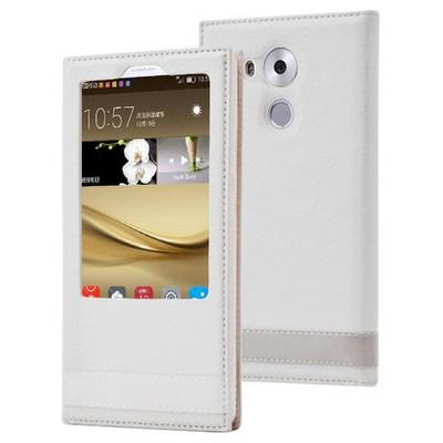 Microsonic Huawei Mate 8 Kılıf Gizli Mıknatıslı View Delux Beyaz Cep Telefonu Kılıfı