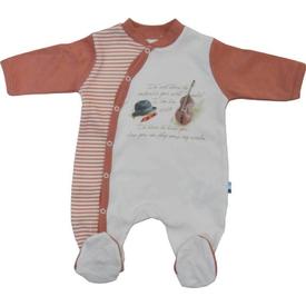 Baby Center S81043 Kemanlı Yandan Çıtçıtlı Bebek Tulum Kiremit 0-3 Ay (56-62 Cm) Bebek Tulumu