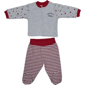 Bebetto F850 Ocean Penye Mini Bebek Pijama Takımı Gri-kırmızı 3-6 Ay (62-68 Cm) Erkek Bebek Pijaması