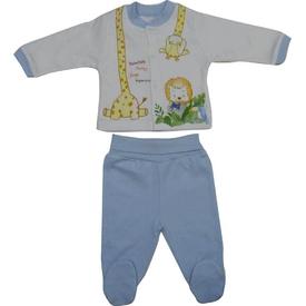 Bebetto F830 Holiday Penye Mini Bebek Pijama Takımı Mavi 3-6 Ay (62-68 Cm) Erkek Bebek Pijaması