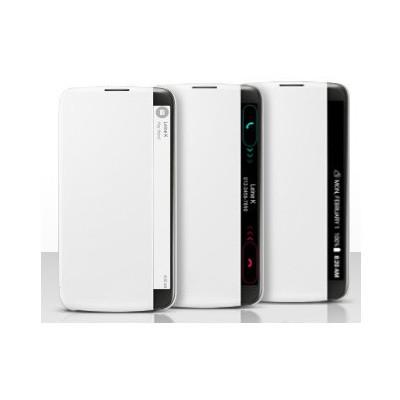 Microsonic Lg K10 Kılıf View Cover Delux Kapaklı Beyaz Cep Telefonu Kılıfı