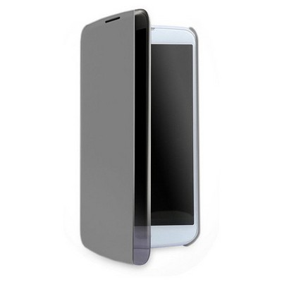 Microsonic Lg K10 Kılıf View Cover Delux Kapaklı Siyah Cep Telefonu Kılıfı