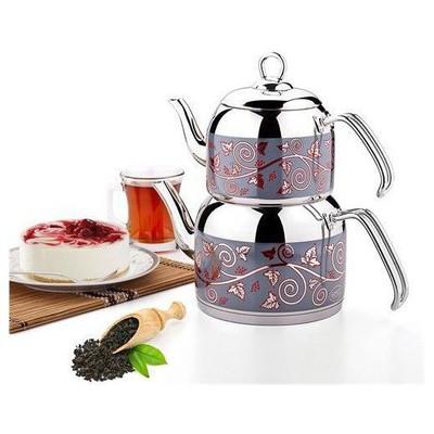 Özkent 308 Menekşe Orta Desenli Çaydanlık Çelik Saplı Çaydanlık