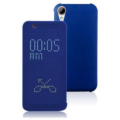 Microsonic Htc Desire 828 Kılıf Dot View Delux Kapaklı Akıllı Modlu Mavi Cep Telefonu Kılıfı