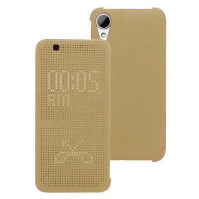 Microsonic Htc Desire 828 Kılıf Dot View Delux Kapaklı Akıllı Modlu Gold Cep Telefonu Kılıfı