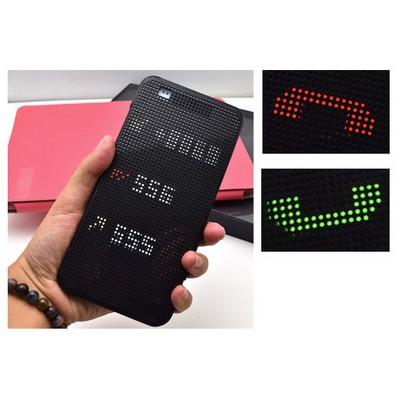 Microsonic Htc Desire 828 Kılıf Dot View Delux Kapaklı Akıllı Modlu Gri Cep Telefonu Kılıfı