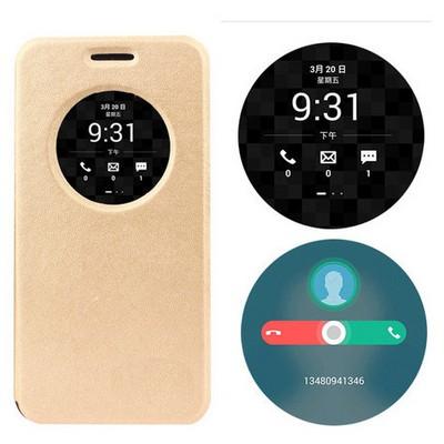 Microsonic Asus Zenfone Max 5.5 Kılıf Circle View Delux Kapaklı Akıllı Gold Cep Telefonu Kılıfı
