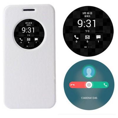Microsonic Asus Zenfone Max 5.5 Kılıf Circle View Delux Kapaklı Akıllı Beyaz Cep Telefonu Kılıfı