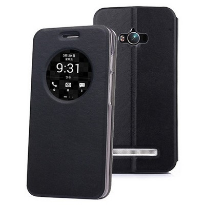 Microsonic Asus Zenfone Max 5.5 Kılıf Circle View Delux Kapaklı Akıllı Siyah Cep Telefonu Kılıfı