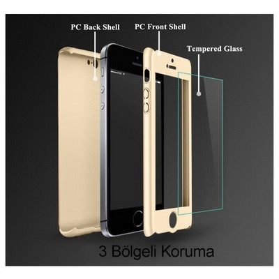 Microsonic Iphone Se Kılıf Komple Full Gövde Koruma Cam Film Dahil Gold Cep Telefonu Kılıfı