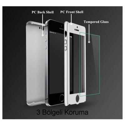 Microsonic Iphone Se Kılıf Komple Full Gövde Koruma Cam Film Dahil Gümüş Cep Telefonu Kılıfı