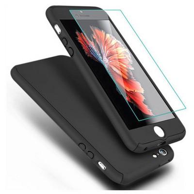 Microsonic Iphone Se Kılıf Komple Full Gövde Koruma Cam Film Dahil Siyah Cep Telefonu Kılıfı