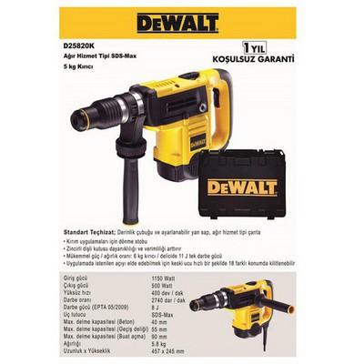 Dewalt D25820k 1150watt 8j 5kg Profesyonel Sds-max Kırıcı Kırıcı / Delici