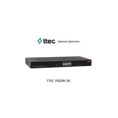 Ttec PSG08-2CR 8 portlu Gigabit-RJ45 PoE+(130W) 2 port SFP RackTipi Tak Çalıştır Switch