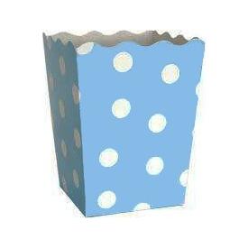 Parti Paketi Mavi Puantiyeli Popcorn Kutusu 12 Adet Parti Tabağı