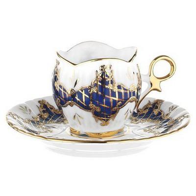 Kütahya Porselen El Yapımı Aizonai Lacivert Türk Kahve Fincanı Çay Seti