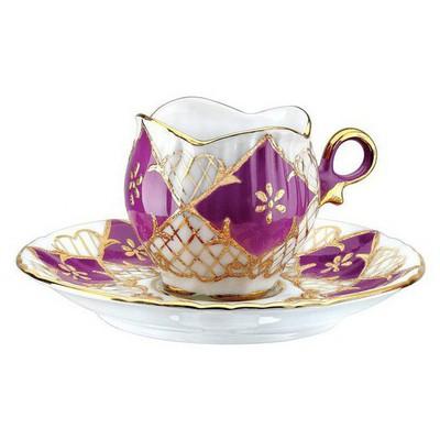 Kütahya Porselen El Yapımı Aizonai Mor Türk Kahve Fincanı Çay Seti