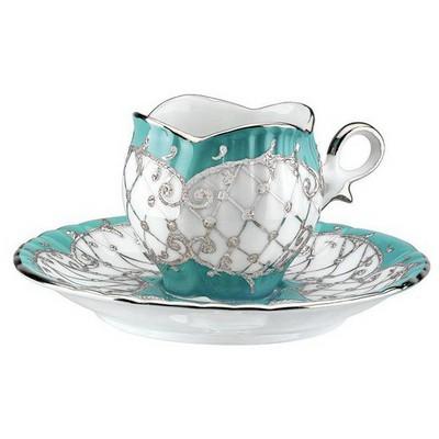 Kütahya Porselen El Yapımı Aizonai Turkuaz Türk Kahve Fincanı Çay Seti