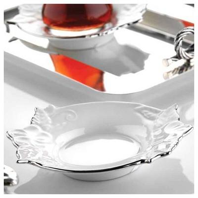 Kütahya Porselen El Yapımı Bahar Tekli Çay Tabağı Çay Seti