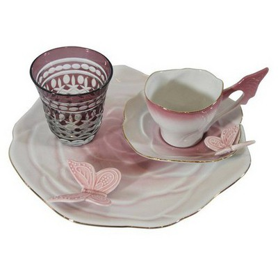 Arte Bianco Belce Pembe El Yapımı Tek Kişilik Kahve Ikram Seti Çay Seti