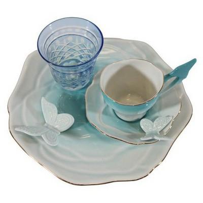 Arte Bianco Belce Mavi El Yapımı Tek Kişilik Kahve Ikram Seti Çay Seti