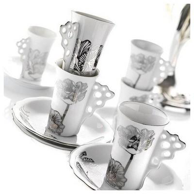 Arte Bianco Elit Ipekçiçeği Çay Takımı Çay Seti