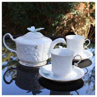 Arte Bianco El Yapımı 2 Kişilik 6 Parça Mavi Kelebekli Çay Takımı Çay Seti