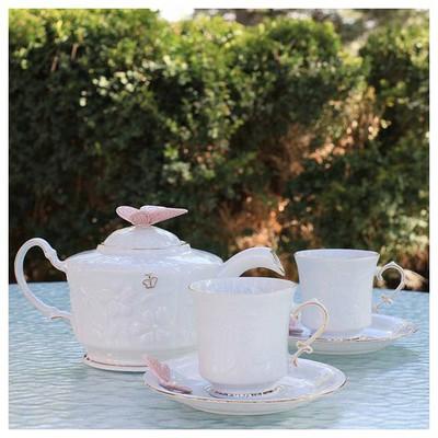 Arte Bianco El Yapımı 2 Kişilik 6 Parça Pembe Kelebekli Çay Takımı Çay Seti
