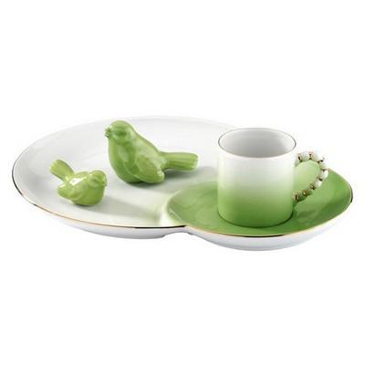 Arte Bianco El Yapımı Yeşil Ipek Ikram Takımı Çay Seti