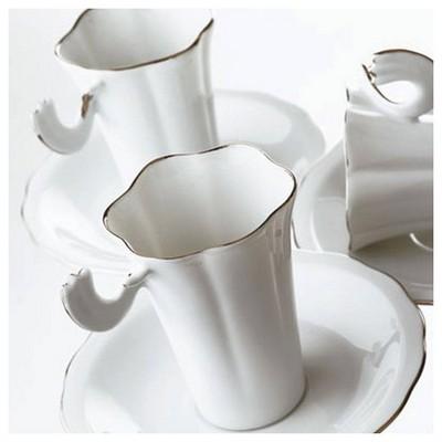 Arte Bianco El Yapımı Kır Çiçeği 6 Kişilik Fincan Takımı Çay Seti