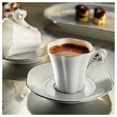 Kütahya Porselen El Yapımı Kavuk Kahve Takımı Çay Seti