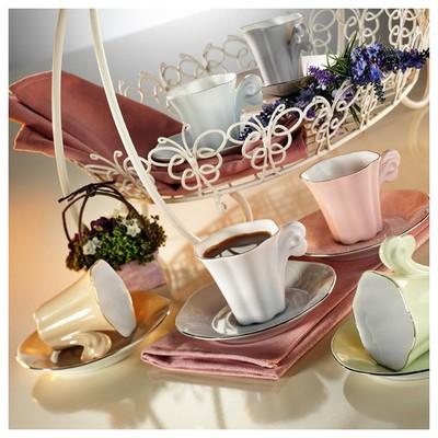 Arte Bianco Kütahya Porselen Kavuk Kahve Takımı Çay Seti