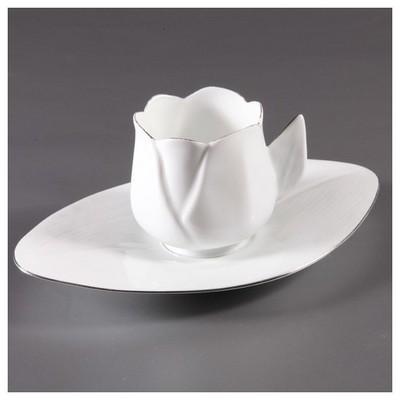 Arte Bianco Lale El Yapımı 2 Kişilik Kahve Fincan Takımı Çay Seti