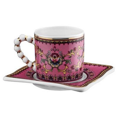 Kütahya Porselen El Yapımı Limagos Çiçekli 7608 Desen Kahve Takımı Çay Seti